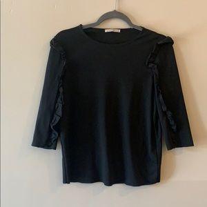 Zara black long sleeve T-shirt with ruffle detail